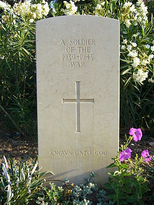 Missing in action - Grave of an unknown British combatant, killed in 1942 during the Battle of Leros. Because his identity is unknown, he is missing in action.