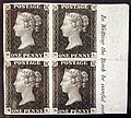 "Unused block of four ""Penny Black"" postage stamps of Queen Victoria MET SF2002 399 10 img1.jpg"