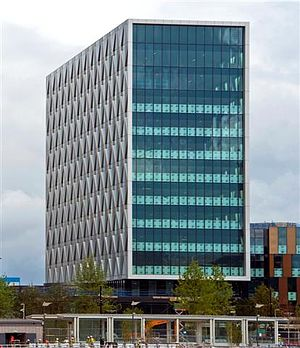 MediaCityUK - The Orange building houses the University of Salford campus and ITV Granada.