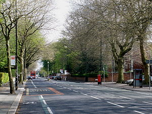 Whalley Range, Manchester - Upper Chorlton Road (looking northeast from the Wood Road inward bus stop)