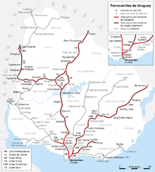 Map of Uruguayan railroads