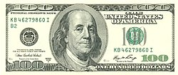 Franklin on the U.S. one hundred dollar bill.