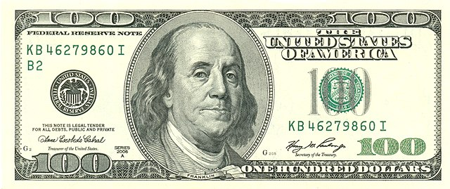 100 US Dollars, image of Benjamin Franklin