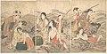 Utamaro (c. 1804–06) Enoshima Yūryō Awabi-tori no Zu (left 3 prints of 6, Met).jpg