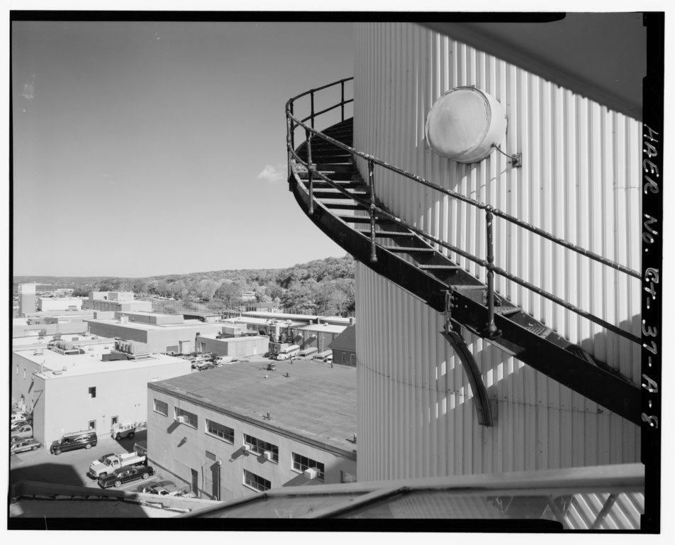 File view of escape training tank looking northeast from for 8 foot spiral staircase