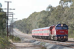 V/Line N class - N463 in the 1995 livery hauling N type carriages on the North East line in October 2007