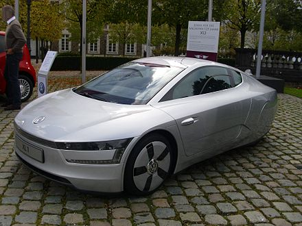 The Volkswagen XL1, with potential mileage as high as 261 mpg, is the most fuel-efficient car in the world VW XL 1 vr.JPG
