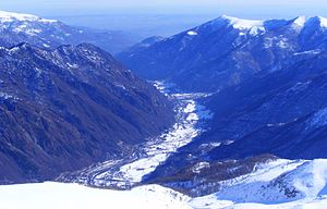 Orco Valley - Winter panorama of the valley from La Cialma (Locana)