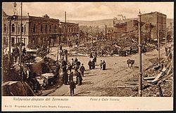 Valparaíso despues de Terremoto, Plaza y Calle Victoria.JPG