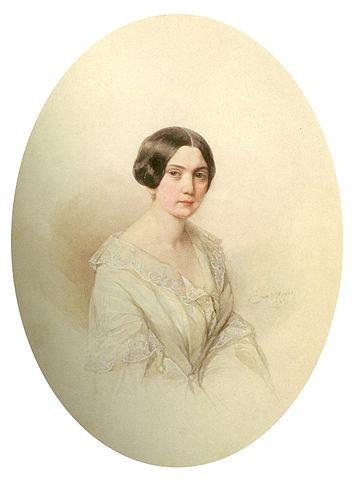 Мария Петровна Валуева, жена. Акварель В.И.Гау, 1845 год