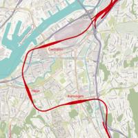 Vastlanken train tunnel in Gothenburg Sweden map based on OpenStreetMaps.png