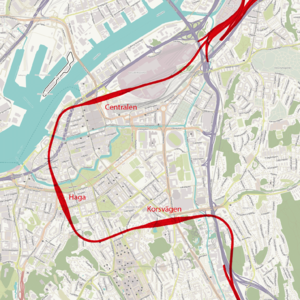 West Link - Image: Vastlanken train tunnel in Gothenburg Sweden map based on Open Street Maps