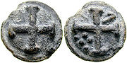 This aes grave coin is a Roman quincunx but the five pellets do not appear in the quincunx arrangement.