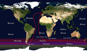 The route of the Vendée Globe race.
