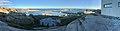 """Verdens ende, Tjøme, Norway. Færder National Park (besøkssenter, visitors' centre). View of Oslofjorden towards Skagerak. """"Tusenårssted, havn, molo, vippefyr"""". Sunset. Distorted panorama 2018-09-05.jpg"""