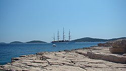 View from the island Tijan at Sea Cloud sailing cruise ship.jpg