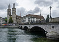 View of Grossmünster and Münsterbrücke, Zürich 20120626 1.jpg