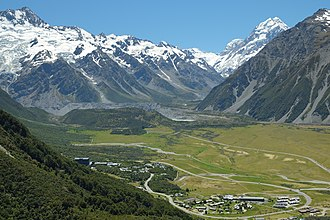 Mount Cook Village - Image: View over Mount Cook Village to The Footstool and Mount Cook
