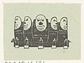 Vignet met vijf schildvormige objecten met gezichten, RP-P-OB-16.631.jpg