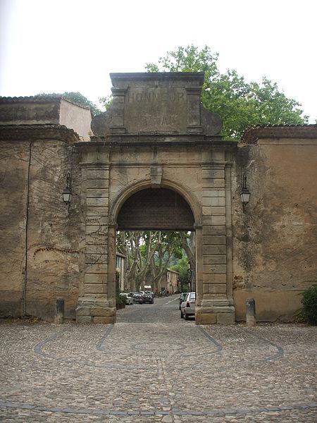 R Carden, 2011, the gateway to the village of Villeneuvette, France.