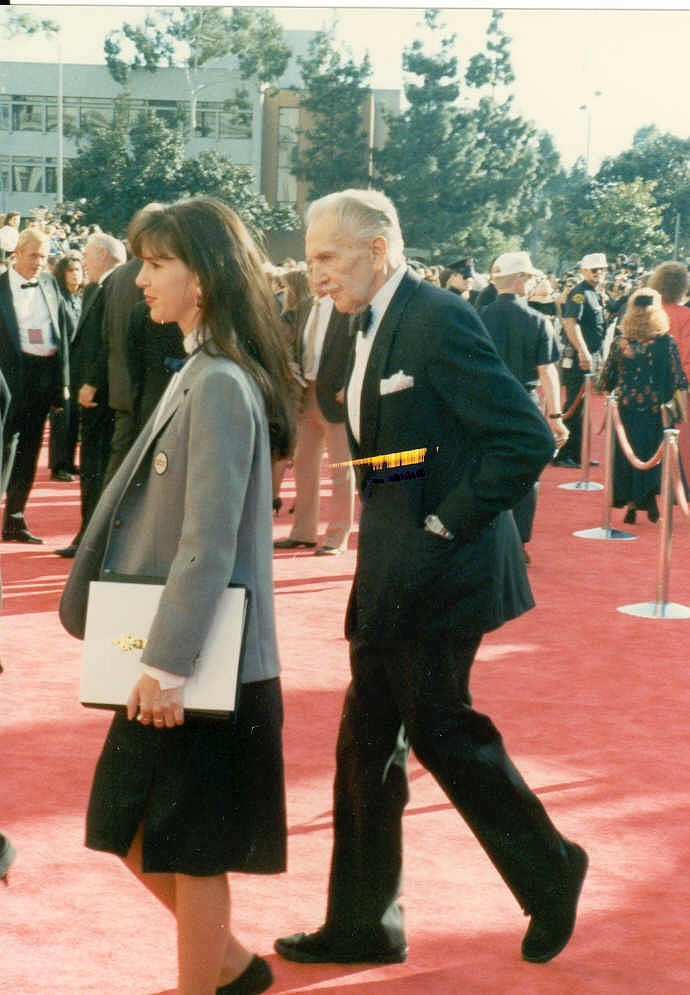 Vincent Price on the red carpet at the 1989 Academy Awards