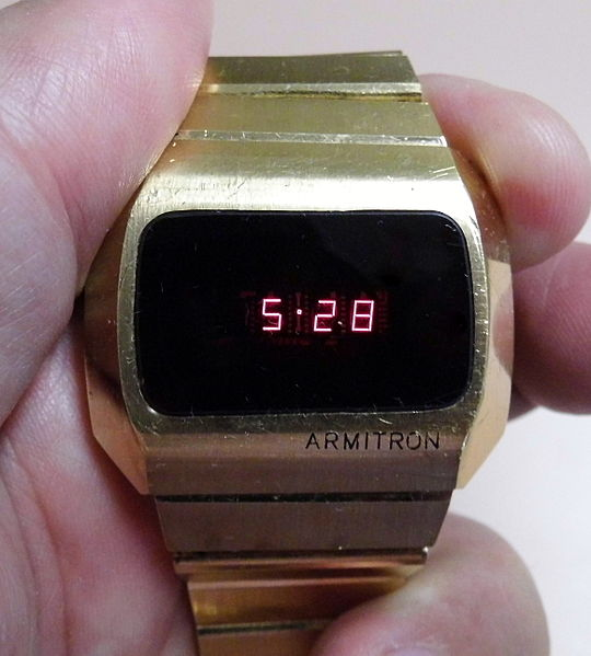 File:Vintage Armitron Red LED Watch, Swiss Made, Circa ...