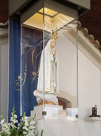 Religion in Portugal - The image of Our Lady of Fátima present in the Chapel of the Apparitions, Cova da Iria, at the Sanctuary of Fátima.