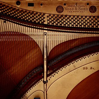 Sound board (music) - Image: Vose and Sons piano soundboard