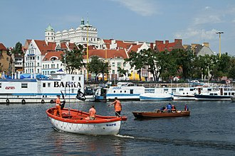 Oder - The Oder in Szczecin, Poland, flows along the banks of the Old Town and the Ducal Castle