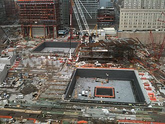 World Trade Center (2001–present) - Construction of the September 11 Memorial complex in December 2010