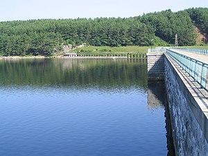 Wachusett Dam - Image: Wachusett Dam reservoir side