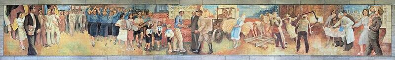 ☭ LA HUELLA SOCIALISTA SOVIETICA EN BERLIN ALEMANIA ☭ - Página 2 800px-Wandbild_Leipziger_Str_7_%28Mitte%29_Aufbau_der_Republik