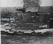 artist's rendering of the explosion on top of a photo with marked location of the Galaxy Mill