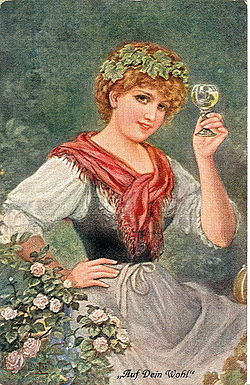 A postcard featuring a lady toasting the reader