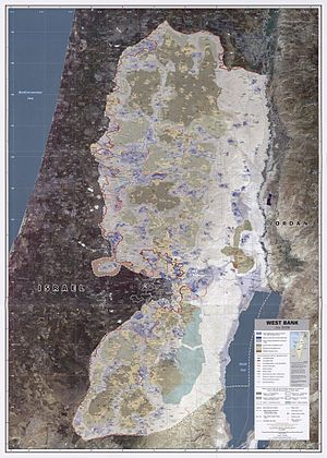 Israeli Civil Administration - Image: West Bank July 2008 CIA remote sensing map 3000px