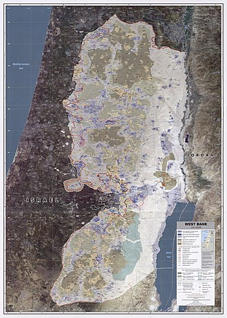 Palestinian National Authority - CIA remote-sensing map of areas governed by the Palestinian Authority, July 2008.