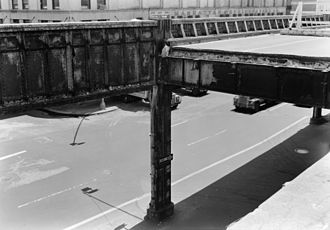 New York State Route 9A - 1974 photo of the collapsed section of the West Side Elevated Highway at 14th Street