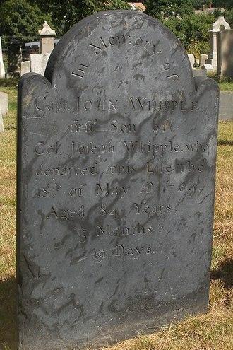 Joseph Whipple - Image: Whipple.John.Capt.gr avestone.No Bur Gnd.Prov