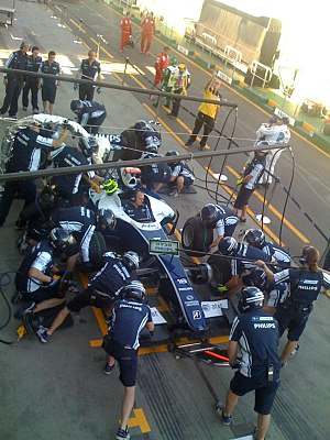 Pit stop - The WilliamsF1 team testing their pit stops