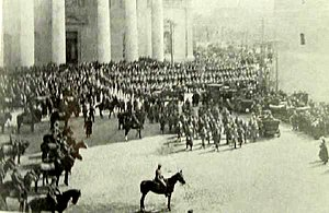 Vilna offensive - Victory parade of Polish Army in Wilno (Vilnius) Cathedral Square, in April 1919