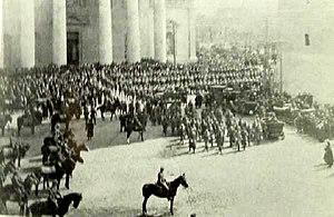 Vilna offensive - Victory parade of Polish Army in Wilno (Vilnius) Cathedral Square, in April 1919