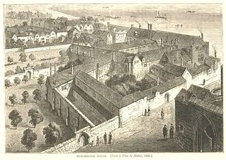 Winchester Palace - Winchester Palace, 1660 drawing by Wenceslas Hollar