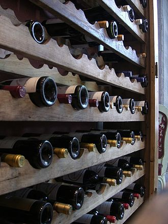 Storage of wine - Wines stored in a rack