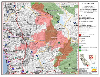Witch Fire - Burn area map of the Witch Creek Fire on October 30, 2007, after it had merged with the Poomacha Fire.