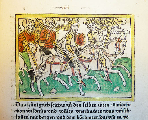 Woodcut illustration of the Amazons Lampedo and Marpesia - Penn Provenance Project