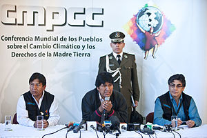 World People's Conference on Climate Change - Evo Morales at a press conference during the event