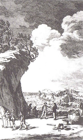 Wager Mutiny - The Wreck of the Wager, the frontispiece from John Byron's account