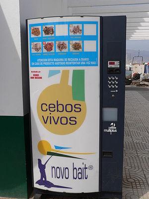 Bait machine - A worm machine in the port of Roquetas de Mar, Spain