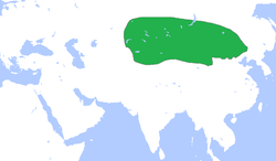 Territory of the Xiongnu (green), circa 250 BC