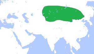 Xiongnu -  Territory of the Xiongnu which includes Mongolia, Western Manchuria, Xinjiang, East Kazakhstan, East Kyrgyzstan, Inner Mongolia, Gansu